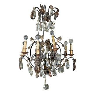Jansen Bronze and Crystal Chandelier For Sale