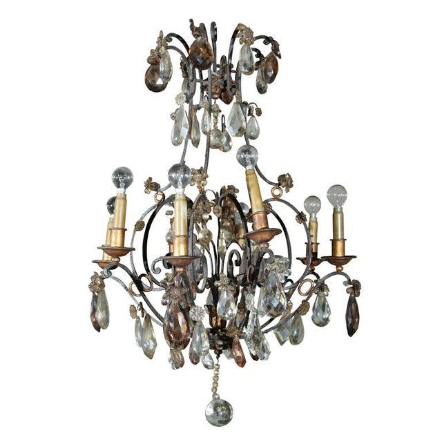 Jansen Bronze and Crystal Chandelier - Image 1 of 6