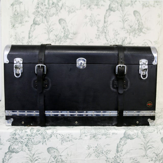 Circa 1930's leather trunk, originally used on automobiles. No keys, but all latches and straps work as expected. Interior...