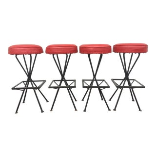 Vintage Mid-Century Modern Bar Stools - Set of 4