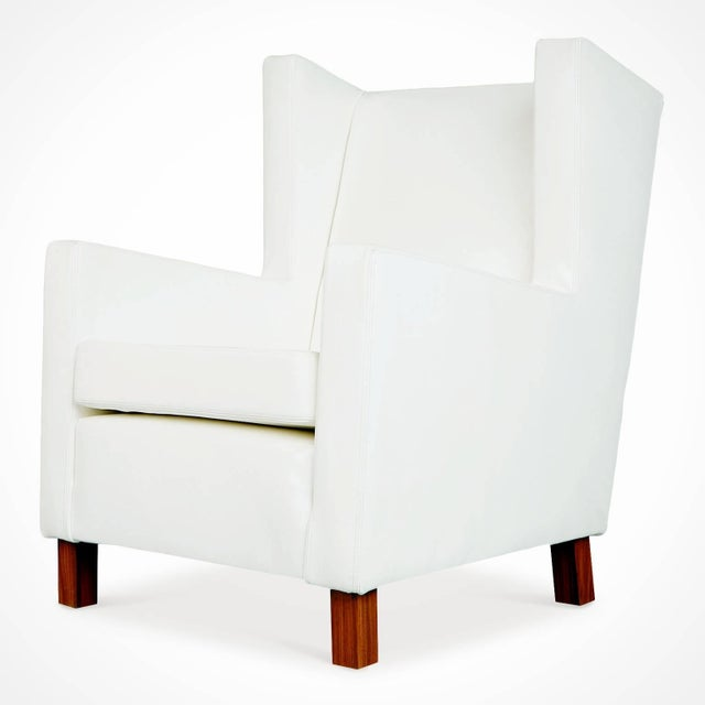 Mid-Century Modern 1960s Jacaranda and White Leather Wingback Armchairs, Brazil - a Pair For Sale - Image 3 of 10
