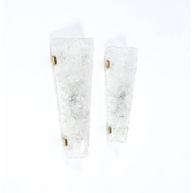 Metal Set of 3 Hillebrand Ice Glass and Brass Sconces, circa 1970 For Sale - Image 7 of 7
