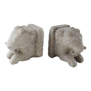 Cast Stone Concrete Elephant Bookends - a Pair For Sale