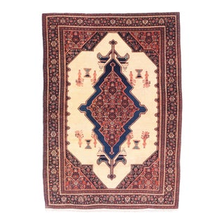 Antique Red Seneh Persian Area Rug For Sale