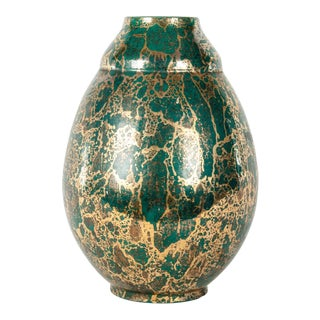 1930s Large Green French Glazed Ceramic Deco Vase For Sale