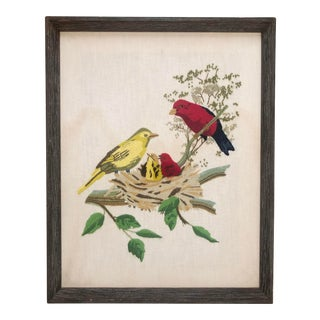 Vintage Embroidered Framed Textile Artwork of Gold and Scarlet Finches With Chicks For Sale