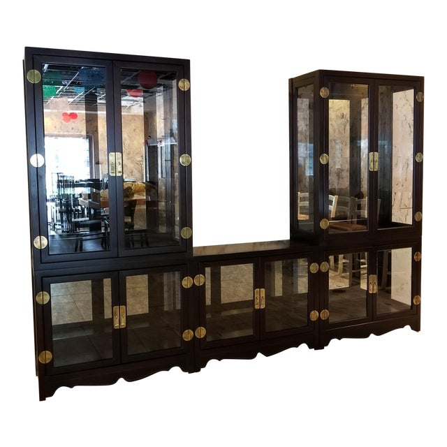 Drexel Asian Modern Glass Curio Display Cabinets - 3 Pieces - Image 1 of 7