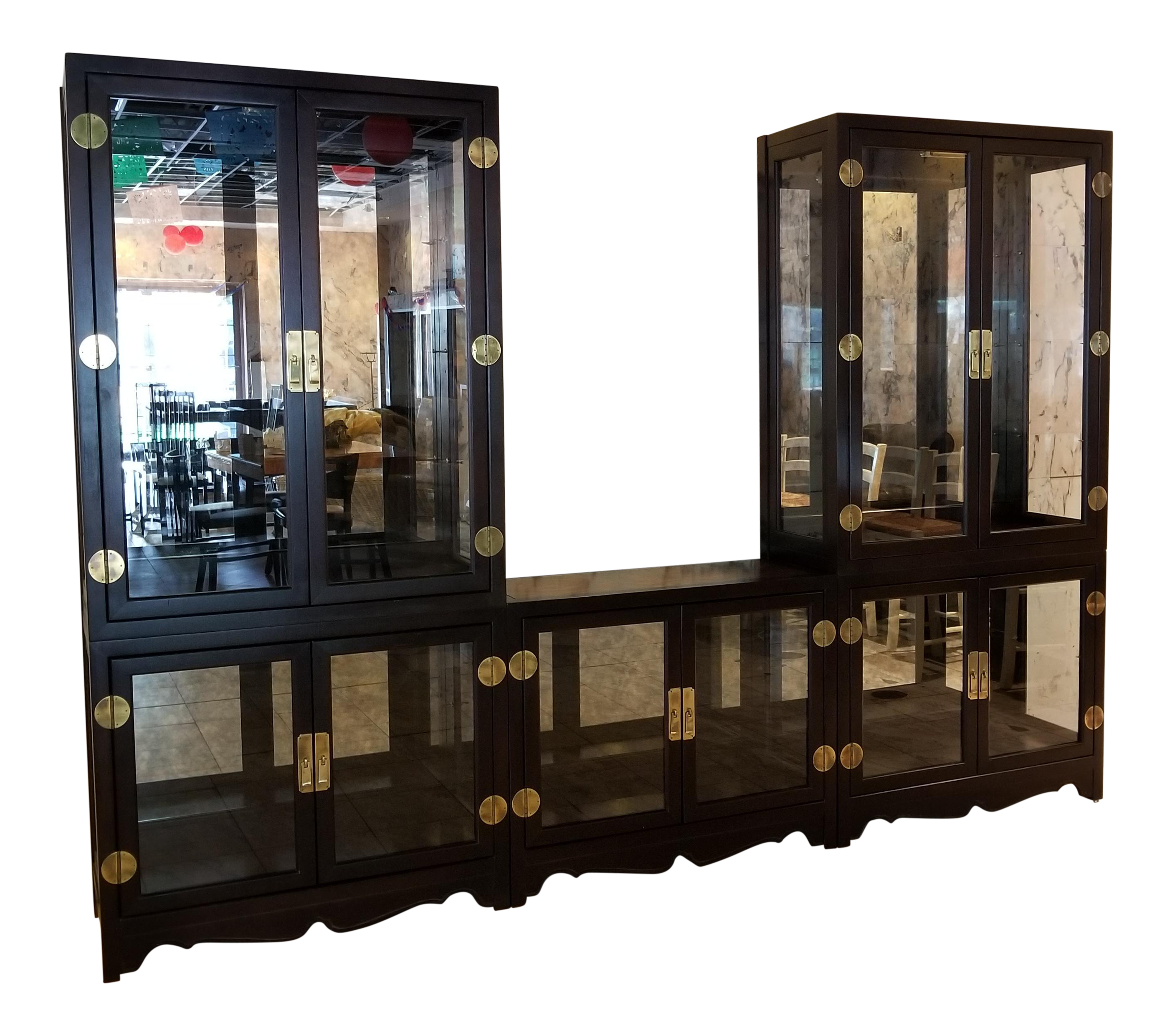 Drexel Asian Modern Glass Curio Display Cabinets   3 Pieces