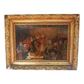 Vintage European Oil on Canvas Painting of a Victorian Era Rural Celebration Scene For Sale