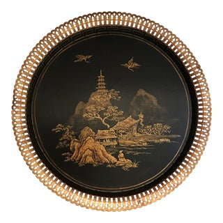 Vintage Chinoiserie Hand Painted Tole Tray For Sale