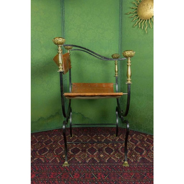 20th Century Italian Iron Campaign Chair For Sale - Image 4 of 11