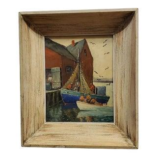 1960s Coastal Harbor Scene Oil Painting by W. Gobfrey, Framed For Sale