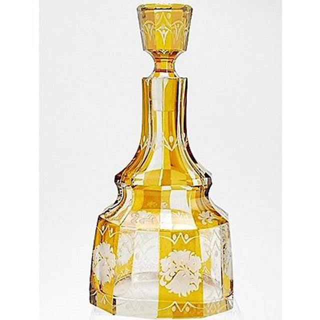This absolutely gorgeous, Art Deco Bohemian glass decanter features the original stopper. One small base chip, some...