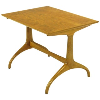 Heritage Henredon Horn Leg Figured Walnut and Mahogany Side Table For Sale