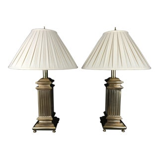 Vintage Rembrandt Lamp Co Brass Hollywood Regency Style Column Table Lamps - a Pair For Sale
