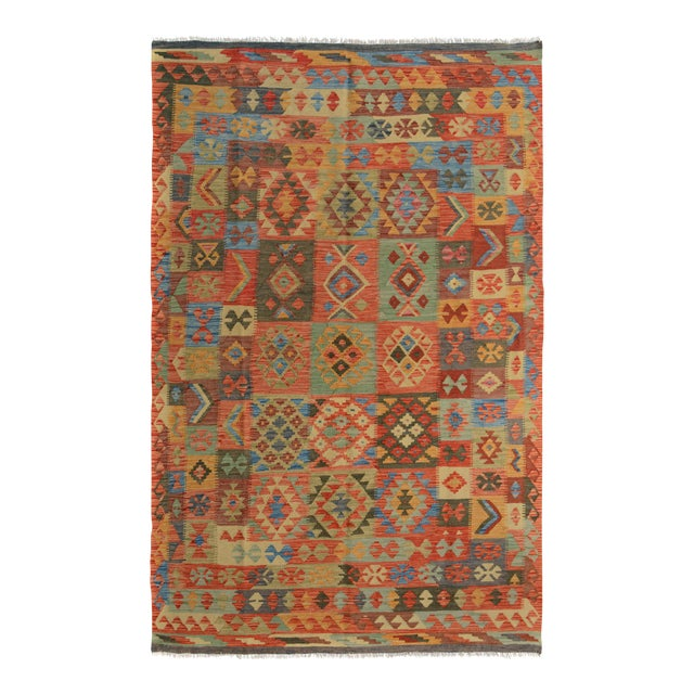 "Kilim Arya Edison Red/Green Wool Rug - 5'7"" X 7'10"" For Sale"