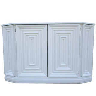 Console Cabinet in White Lacquer Finish For Sale