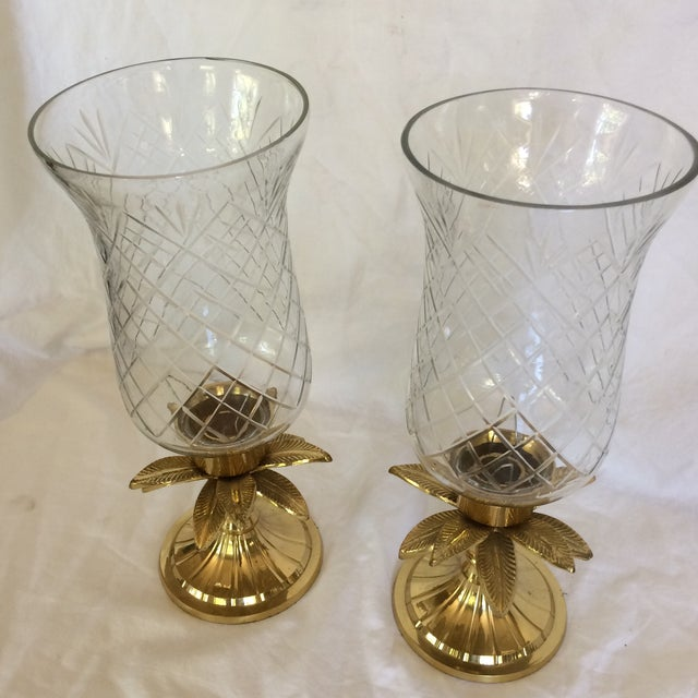 Vintage Etched Crystal & Brass Pineapple Design Candle Holders - a Pair - Image 11 of 11