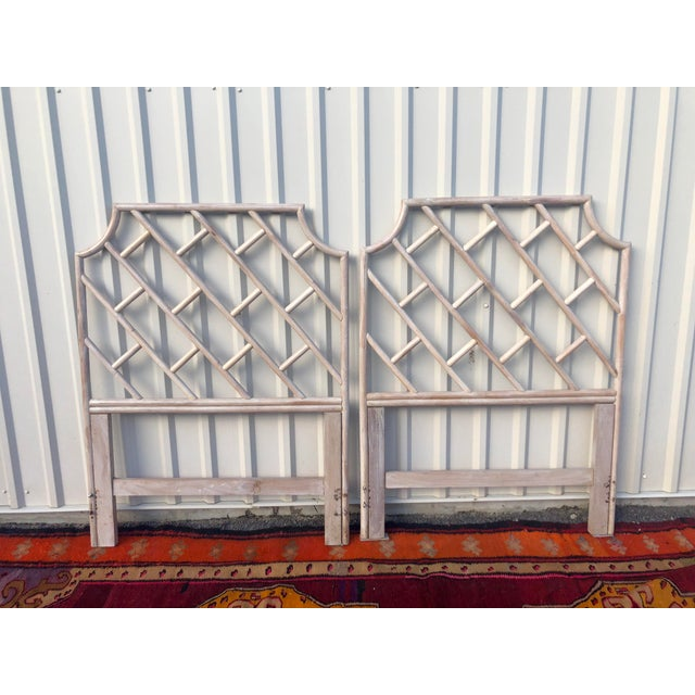 Bamboo Vintage Bamboo Rattan Chinese Chippendale Twin Headboards - a Pair For Sale - Image 7 of 8
