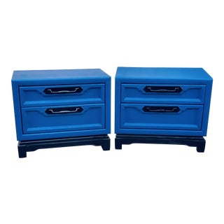 1980's Asian Modern Blue Nightstands - a Pair For Sale