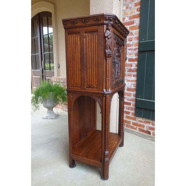 Late 19th Century Antique French Carved Oak Gothic Vestment Cabinet For Sale - Image 5 of 11