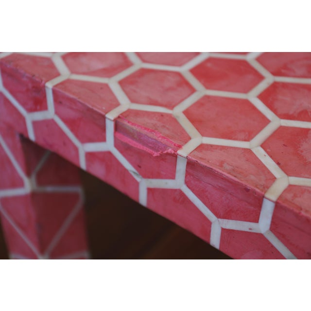 Antique Pink Clay Bone Inlay Honeycomb Side Table For Sale In Los Angeles - Image 6 of 9