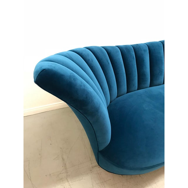 1960s Art Deco Asymmetrical Blue Upholstereed Channel Back Sofa For Sale In Los Angeles - Image 6 of 9