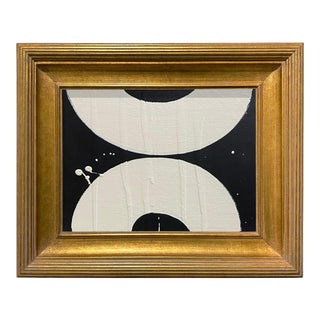 Ron Giusti Mini Wagasa Black and Cream Acrylic Painting, Framed For Sale