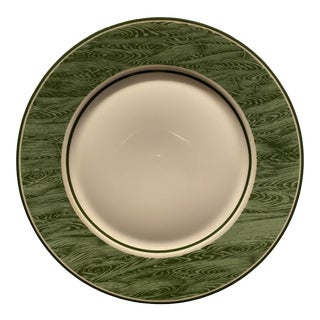 1980s Bill Goldsmith Faux Bois Limoges Green Dinner Plate For Sale