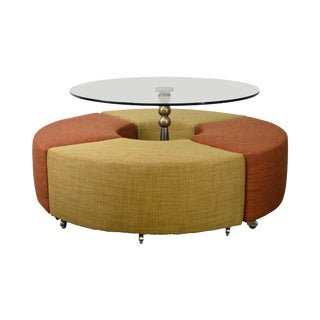 Outer Limits Round MCM Style Contemporary Glass Top Dinette Table W/ Stools For Sale