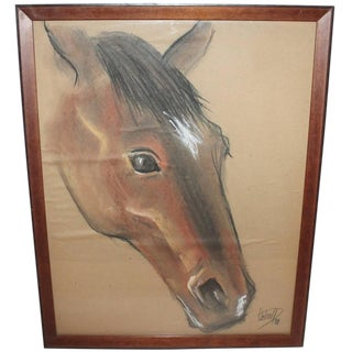 Pastel Signed and Dated 1929 Horse Head Profile