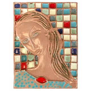 Wonderful Large Harris Strong Woman Tile Art A For Sale