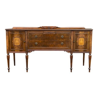 Antique French Style Carved Credenza For Sale