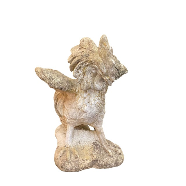 Antique French Cement Rooster Statue For Sale - Image 4 of 5