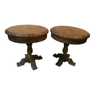 Late 19th Century Heavily Carved Oak Pedestal End Tables - a Pair For Sale