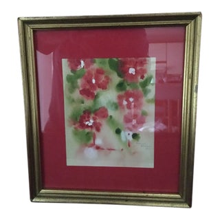Vintage Coral Pansy's Watercolor in Gilded Frame For Sale