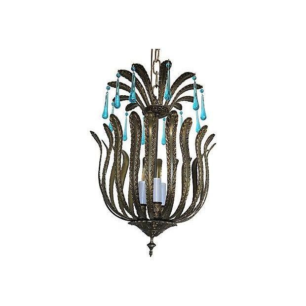 Mid-Century Brass Acanthus Lantern Chandelier - Image 3 of 6