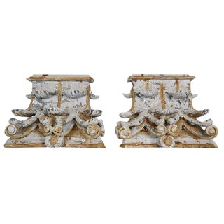 Carved Wood Capital Fragments - A Pair