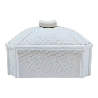 Mid-Century Raymor White Italian Ceramic Faux Bamboo Lidded Dish For Sale