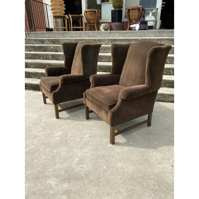 Cabin Ethan Allen Chocolate Brown Velvet Wingback Chairs- a Pair For Sale - Image 3 of 13