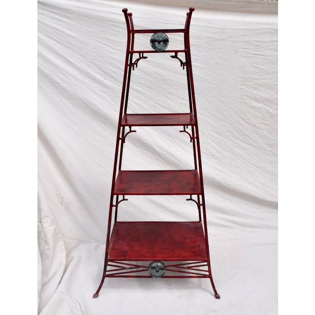 Iron Chinoiserie Pagoda Etagere by Palecek For Sale - Image 9 of 9