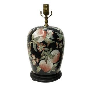 Peaches & Blossoms Black Vase Lamp