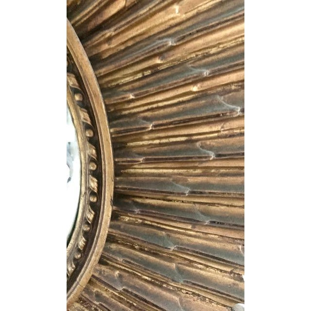 Boho Chic Large Antique Wood Convex, Starburst Mirror For Sale - Image 3 of 8