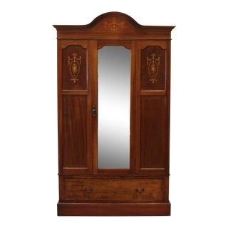 20th Century Edwardian Wardrobe, Mahogany With Inlay and Mirrored Door For Sale