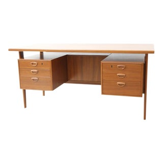 Mid-Century Danish Modern Teak Floating Drawer Desk