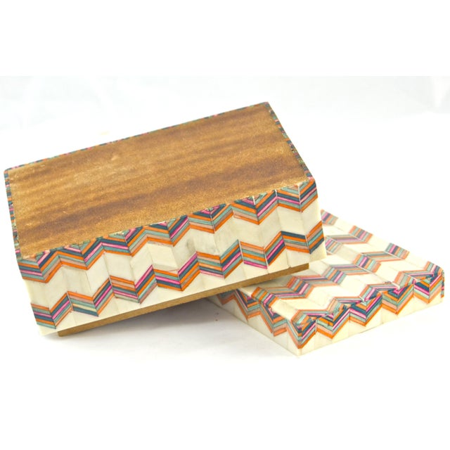 Inlaid Bone Chevron Box For Sale In Chicago - Image 6 of 8