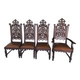 Image of 1860 Circa Hand Carved Oak Gothic Church Chairs - Set of 4 For Sale