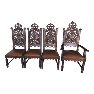 1860 Circa Hand Carved Oak Gothic Church Chairs - Set of 4 For Sale