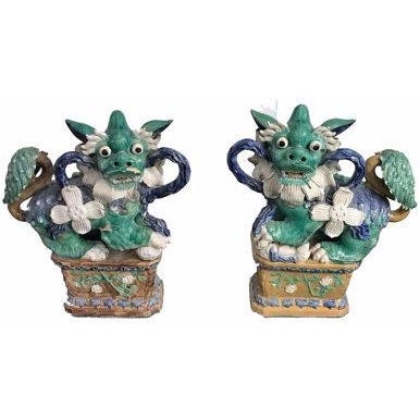 Antique Green & Blue Foo Dogs - A Pair - Image 1 of 5