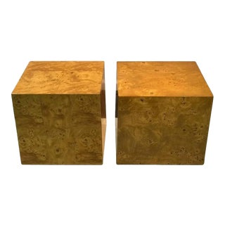 Pair of Burl Wood Side Tables Attributed to Milo Baughman For Sale